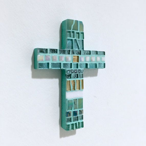 Baptism Gift Godchild ? Aquamarine ? Mosaic Wall Cross ? Confirmation Gift ? Christening Gift ? Gift from Godparents ? Christian Home Decor
