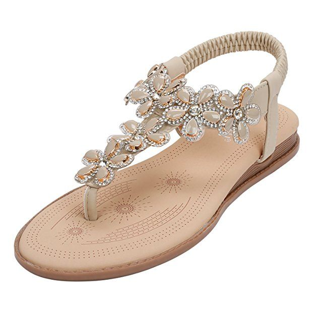 Damen Boho Blumen Flach Sandaletten Sandalen Sommerschuhe Strandschuhe Sandalen