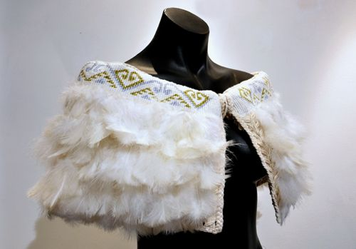 Robin Hill Kura Gallery Maori Art Design New Zealand Aotearoa Weaving Shoulder Cloak Cape Marena White Turkey Peacock Feathers 2