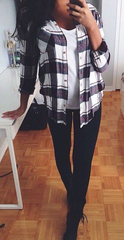 Black skinnies, white tee and plaid shirt.