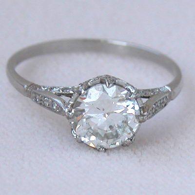 Platinum 1 38ct Diamond Edwardian Style Antique Engagement Ring I
