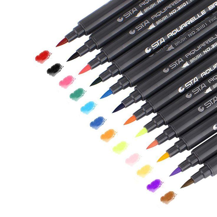 STA 12 Colores Set Cepillo Del Artista Sketch Rotuladores a Base de Agua Doble Punta de Rotulador de tinta de Arte Gráfico y Dibujar Manga FineTip