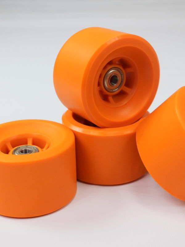 Set of 4, 83mm x 52mm Polyurethane (PU) skateboard and longboard wheels Hardness 88A for effortless cruising Rebound 85% for a super smooth ride ABEC-7 Super Smooth Bearing for very little rolling resistance 235g each. Total 940g. Compatible with all standard skateboards