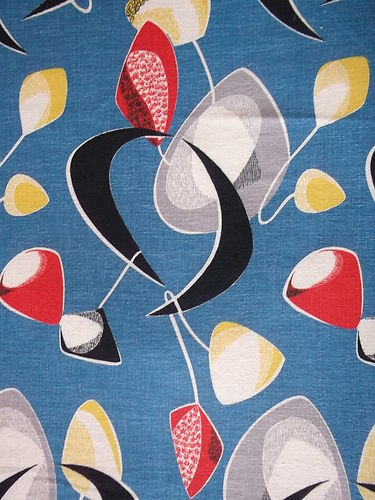 Vintage 1950's Barkcloth Atomic Kinetic Crescent Mobile Eames Era Cotton Fabric