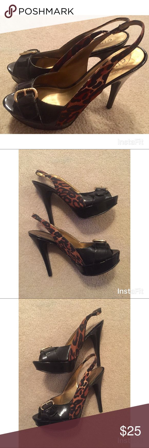 Guess Animal Print High Heels -Excellent Used Condition  -Animal Print Heels with Buckles at Toes -Size 8M Guess Shoes Heels