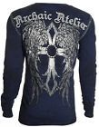 Archaic AFFLICTION Mens THERMAL Whipstitch T-Shirt ACUURSED BIKER UFC MMA L $58