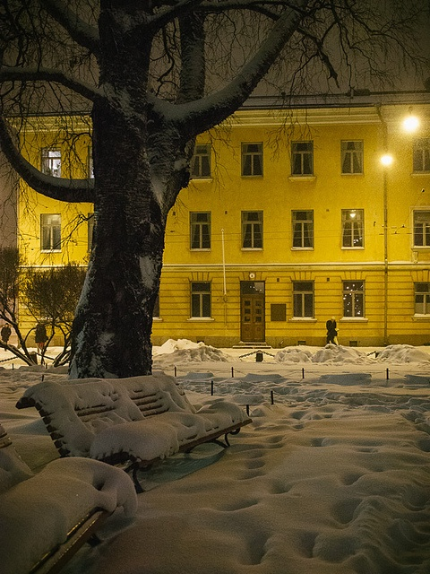 Fresh snow in  Kruununhaka, Helsinki, Finland