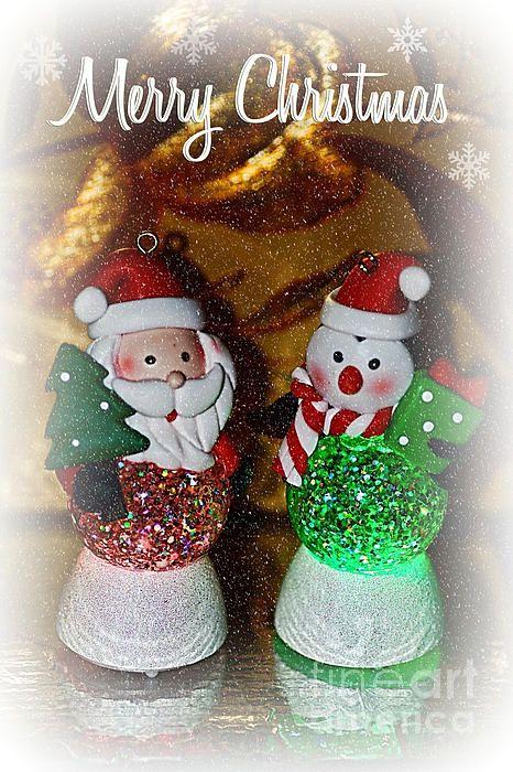 #MERRY #CHRISTMAS - #GLOWING #SANTAS by #Kaye #Menner Quality Prints Cards at:  http://kaye-menner.artistwebsites.com/featured/merry-christmas-glowing-santas-by-kaye-menner-kaye-menner.html