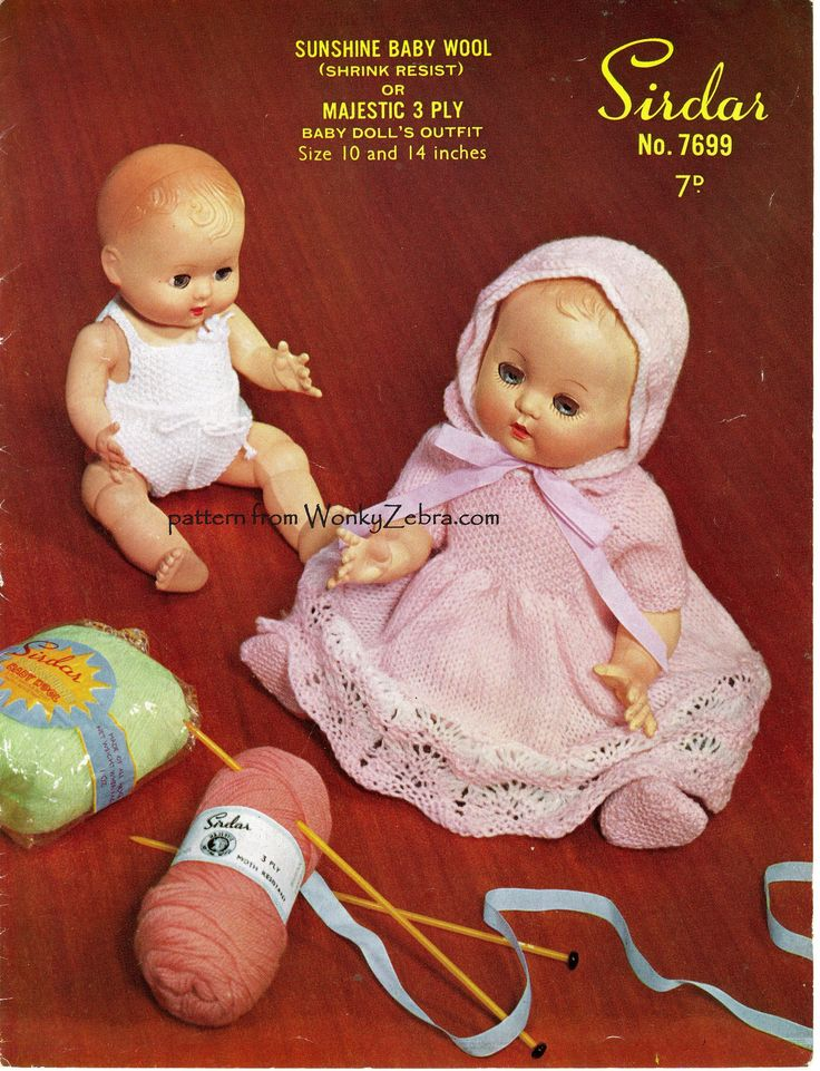 Sweet vintage pattern Sirdar 7699 for 10 and 14 inch baby doll's clothes. A vest, panties, dress, bootees and bonnet. PDF from WonkyZebra.com WZ428