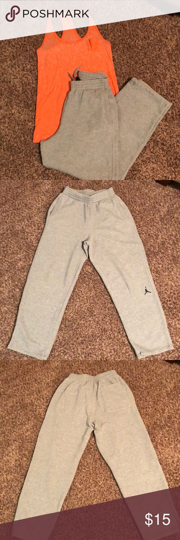 Nike Air Jordan Sweats Nike Air Jordan Heather Gray Sweats  ( men's SMALL ) fits like a woman's Medium  . I bought these to dance in years ago but they were a bit to thick and heavy. They are amazing for keeping warm and lounging in but the waste band is pretty tight and after babies and surgery's  I need a loose waste band. There is no signs of wear except they used to have elastic pull ties to tighten the  ankles & I took them out.  If you like sweats and you don't mind a tighter waste…