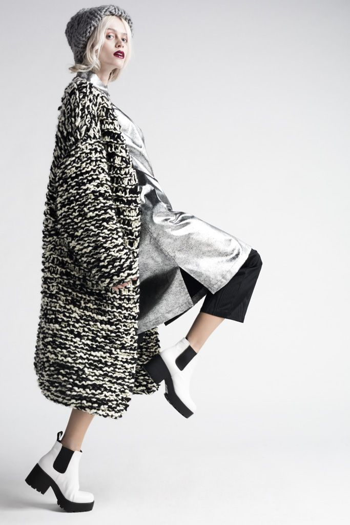 Knitted coat with black & white variegated textures; contemporary knitwear // Anna Dudzinska