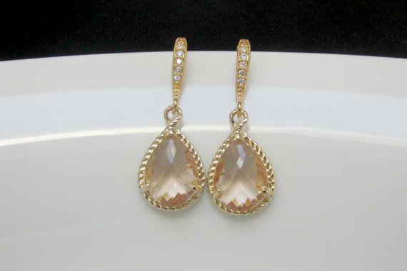 blozen roze oorbellen gouden blush oorbellen gouden door ShikDesigns