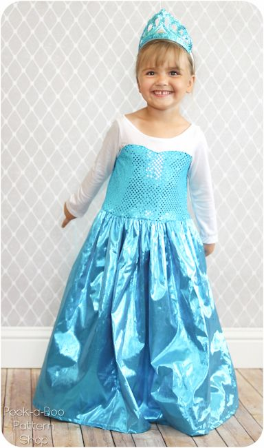 Make any little girl's dreams come true with this darling Elsa costume! Free toddler size pattern