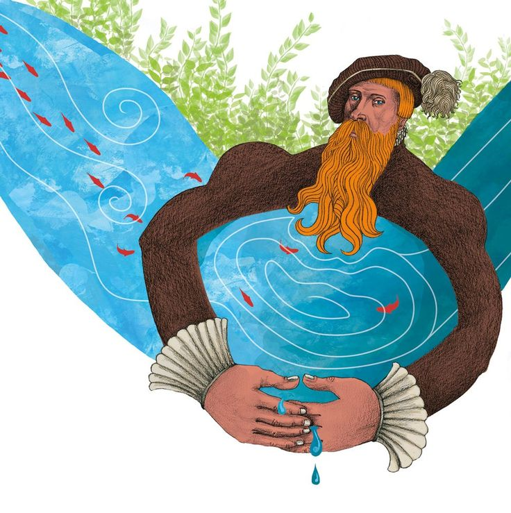 Gustav Vasa hinders the flow of the stream. Illustration by Felicia Fortes (Sweden)