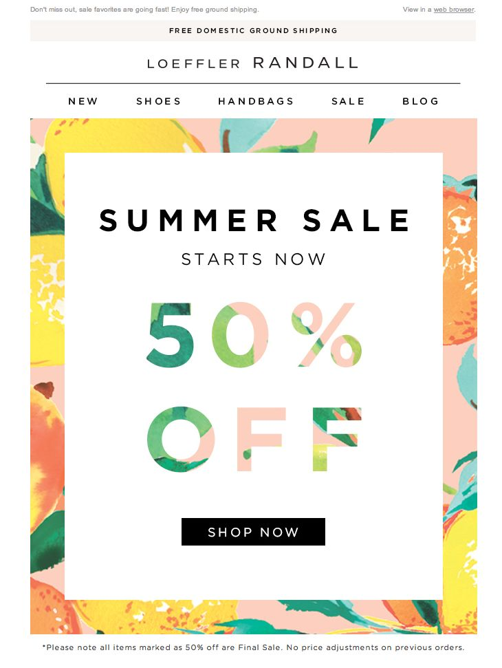 #newsletter Loeffler Randall 06.2014 50% Off Summer Sale Starts Now