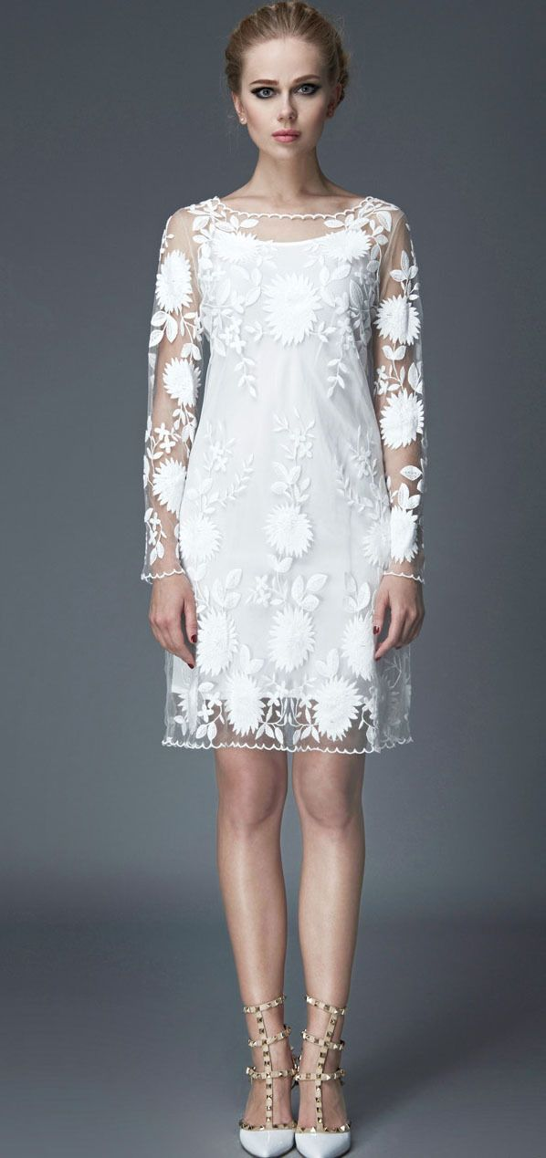 Morpheus Boutique  - White Floral Jacquard Long Flare Sleeve Pencil Hem Dress, $149.99 (http://www.morpheusboutique.com/white-floral-jacquard-long-flare-sleeve-pencil-hem-dress/)