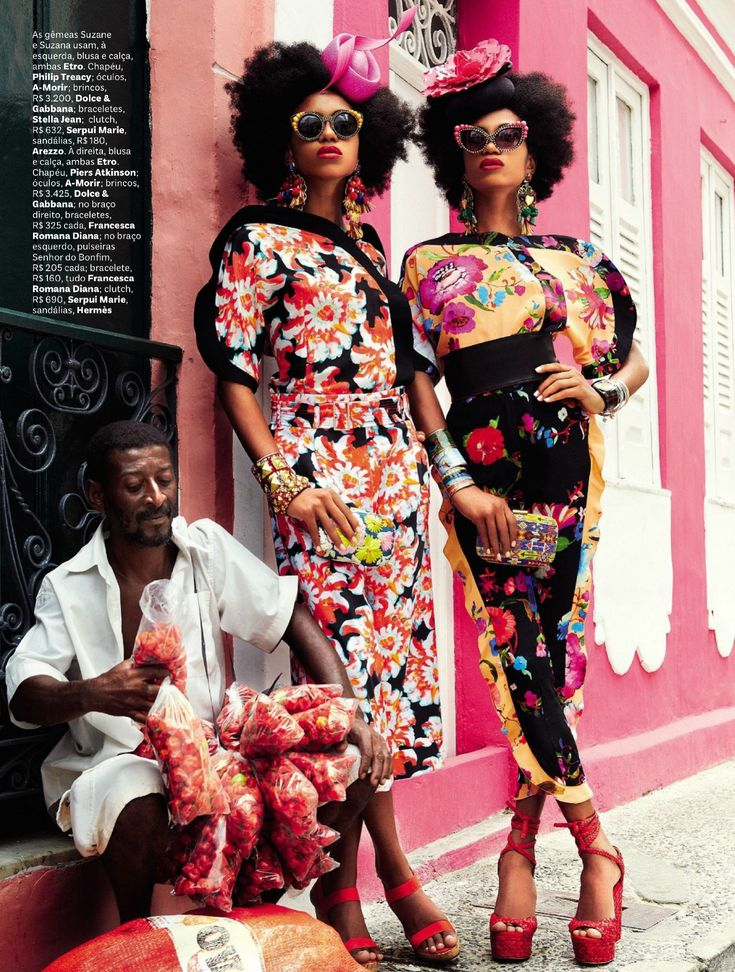 ☼ Vogue Brazil ☼ February 2013   Carmen Miranda Reloaded  Ph.: Giampaolo Sgura  Models: Mirte Maas, Suzane Massena and Suzana Massena  Styling: Anna Dello Russo  Hair: Andrew M. Guida  Make-Up: Jessica Nedza