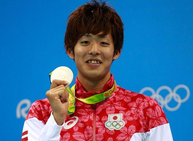 絶対王者のマイケル・フェルプスに迫る泳ぎで銀メダルを獲得した坂井聖人。(写真:Getty Images)