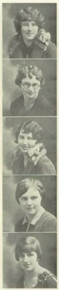 """1927 High School hairdos - in the """"Junco-Ed""""  yearbook of Junction City High School in Junction City, Oregon.  #JunctionCity #Oregon #Junco-ed #yearbook #1927"""
