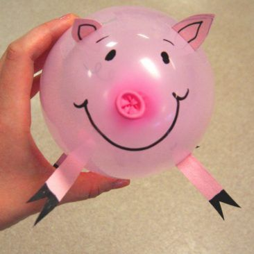 Draw on a face and you'll have adorable pig balloon decorations.