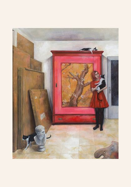 Art Giclée Print - Armario Rojo y Chica con Gato - Tamaño: 21 x 30 cm - Precio: 25 €. Dulce Porvenir Estudio. Rosa Álamo. Papel Hahnemuhle William Turner.