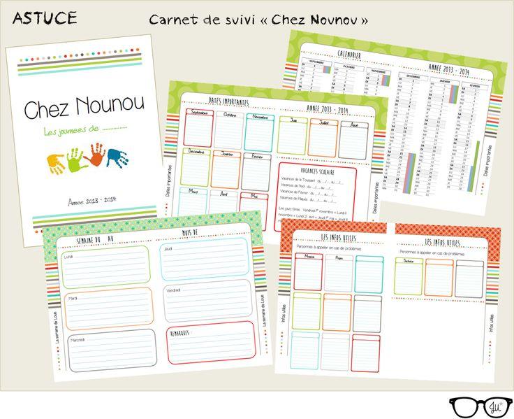 Carnet de suivi chez Nounou, à télécharger en PDF gratuitement sur : mamanlunettes.canalblog.com