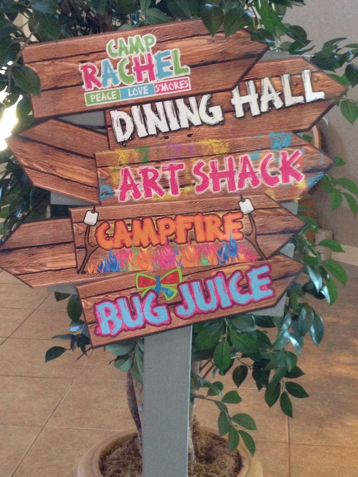 Fun signage for camp bat mitzvah theme