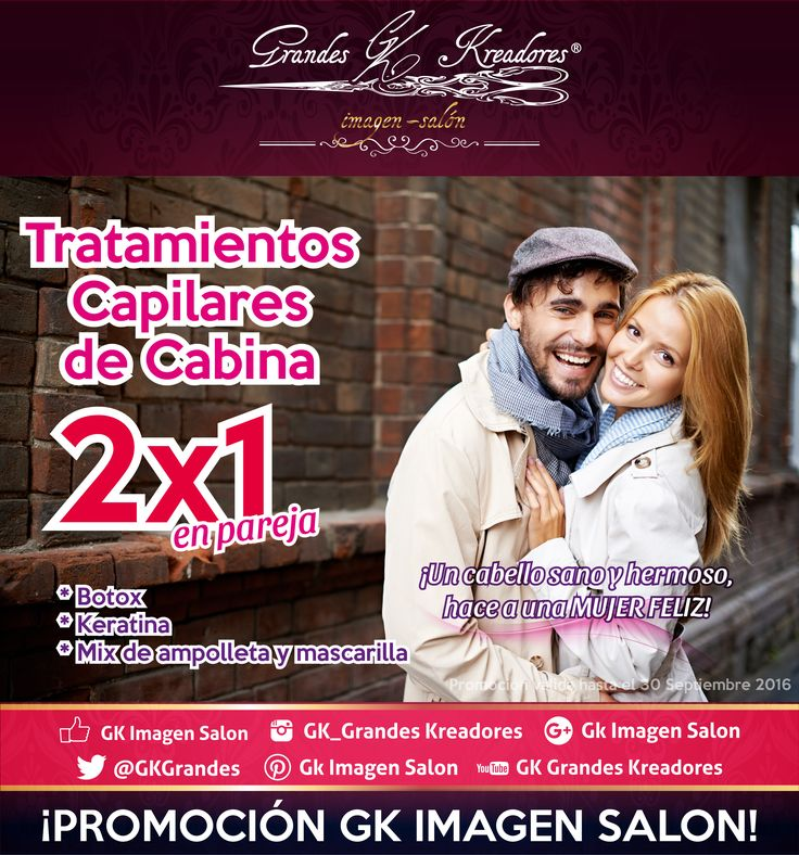 Tratamientos capilares al 2x1 en pareja. #botox #capilar #keratina #mix #ampolleta #mascarilla #promocion #GkImagenSalon #salon #belleza #cabello