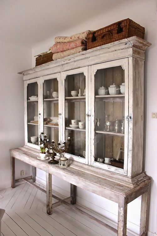 Farmhouse cabinet with glass shelves. Perfect display piece for ironstone!