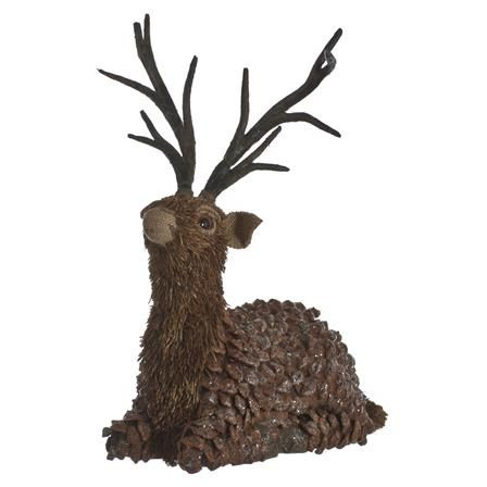 Festive 24cm Sitting Deer With Pine Cone Body, Natural