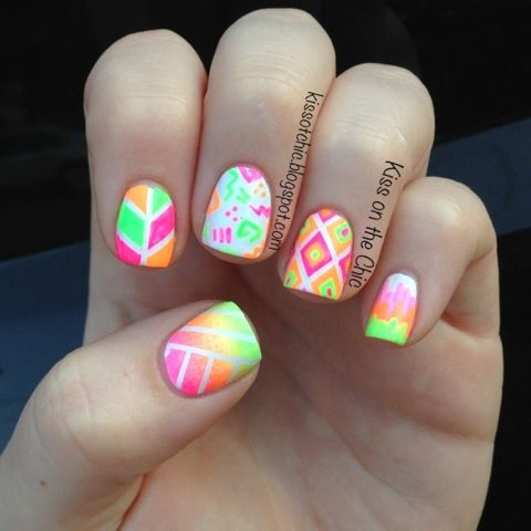 17 best images about summer  neon colors nail designs on