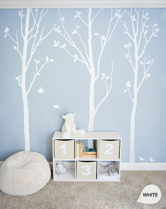 White Tree Wall Decals – White Birch Trees Decal Nursery wall decor Tree Wall Mural stickers – Large: approx 92″ x 81″ – KC003