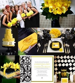 yellow black white wedding ideas
