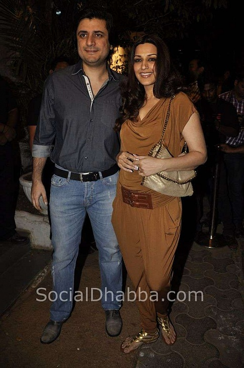 Goldie Behl with wife Sonali Bendre at Sanjay Leela Bhansali's 50th Birthday Bash