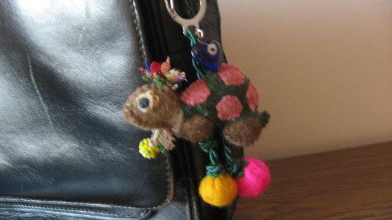 felted cute bag charmsmart tortoise felt key by CiciByMuy on Etsy, $7.50