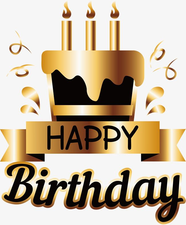 Golden Birthday Cake Poster Birthday Clipart Cake Clipart