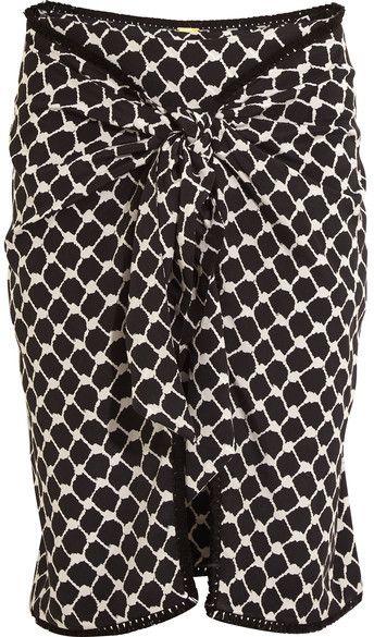 Dodo Bar Or - Tasseled Printed Silk Crepe De Chine Wrap Mini Skirt - Black