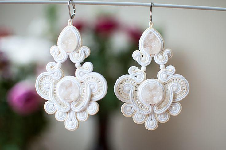 Bridal soutache earrings by SimSimsoutache on Etsy