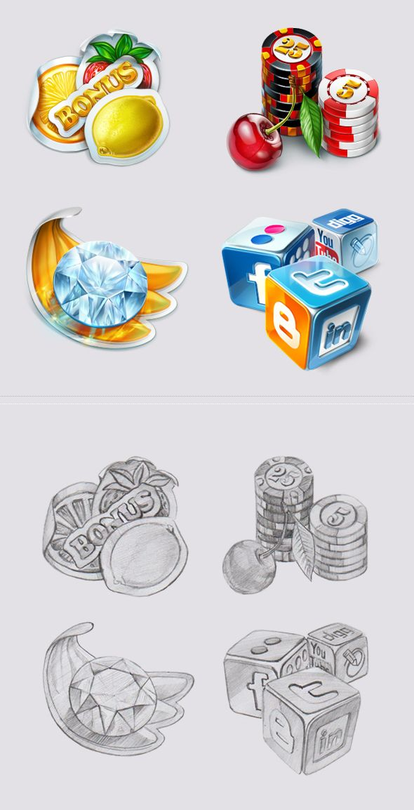 Icons for the slot-machines on Behance