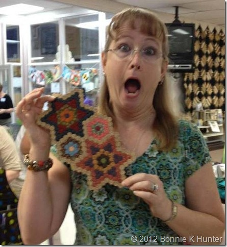 Love this setting for hexies (don't you love Bonnie Hunter's expression?)