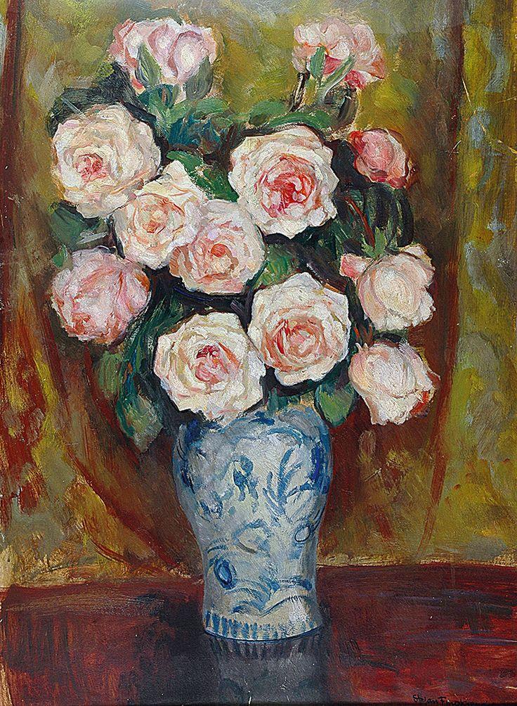 Stefan FILIPKIEWICZ (1879-1944)  Róże w wazonie olej, tektura; 68,5 x 50 cm;