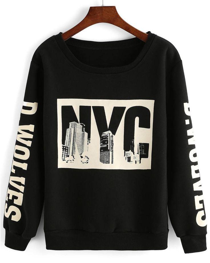 Black NYC Sweatshirt Size: Free Size Limited Stock #black #nyc #print #sweatshirt #fallfashion #winterishere #wintershopping #onlineshopping #shopsneakpeek #sneakpeekstore #sneakpeek