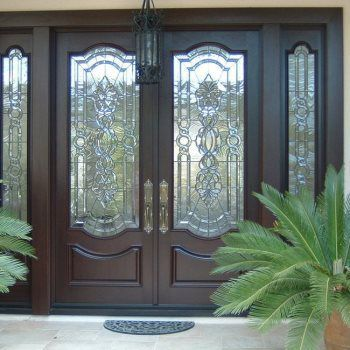 8 X 8 Traditional Mahogany Entry Doors With Custom Triple Glazed Architectural