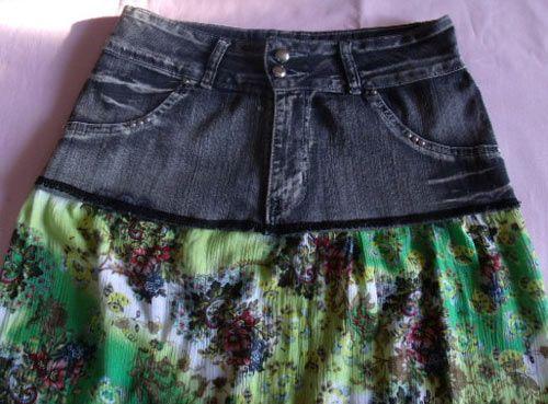 DIY skirt from denim and dress  See this DIY here: http://customizando.net/como-fazer-saia-usando-calca-jeans-e-vestido/