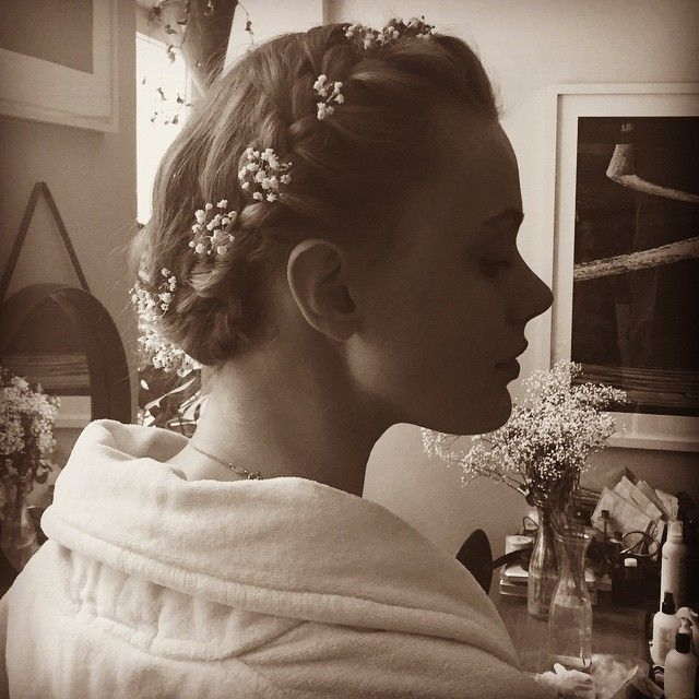 Frida Gustavsson's wedding hairstyle was an elegant updo withfloral details