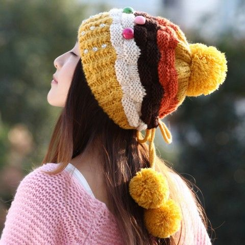Yellow striped knit hat for girls winter beanie hats with ball on top