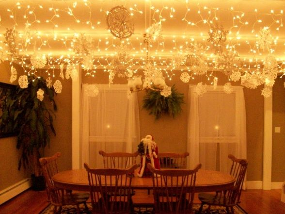 How To String Christmas Lights On Ceiling : Wonderland Dining Room, Icicle lights and 70 hand cut paper snowflakes cover the ceiling like a ...