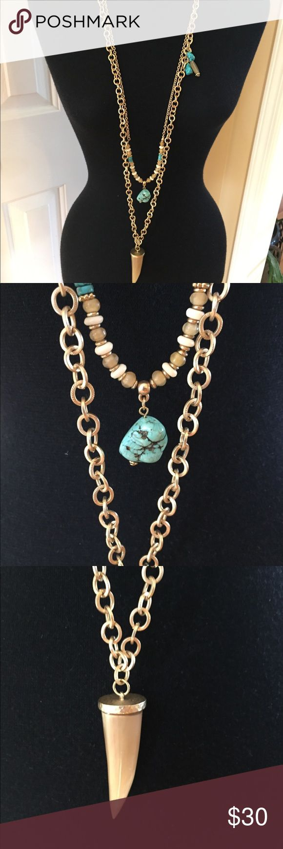 Chico's necklace gold Tone with faux turquoise This necklace is gorgeous and in outstanding condition! Chico's Jewelry Necklaces
