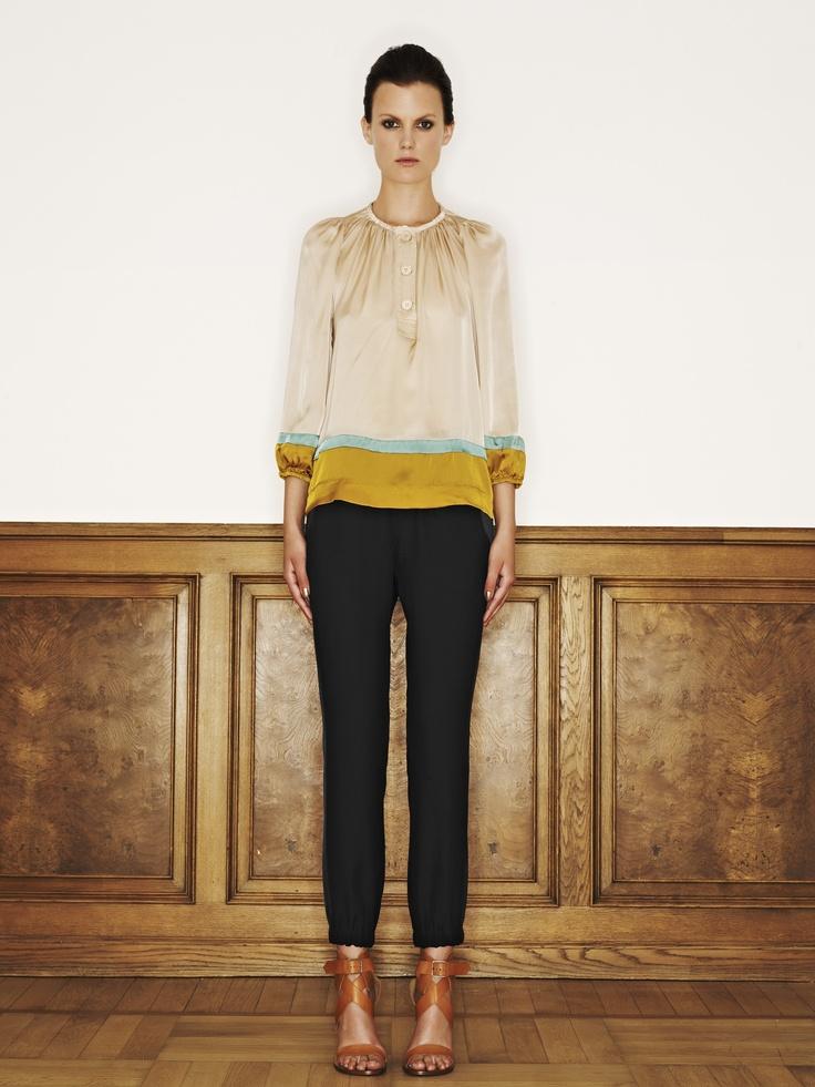 Rützou silk blouse in colour blocking aquamarine and acetate rayon pants in black
