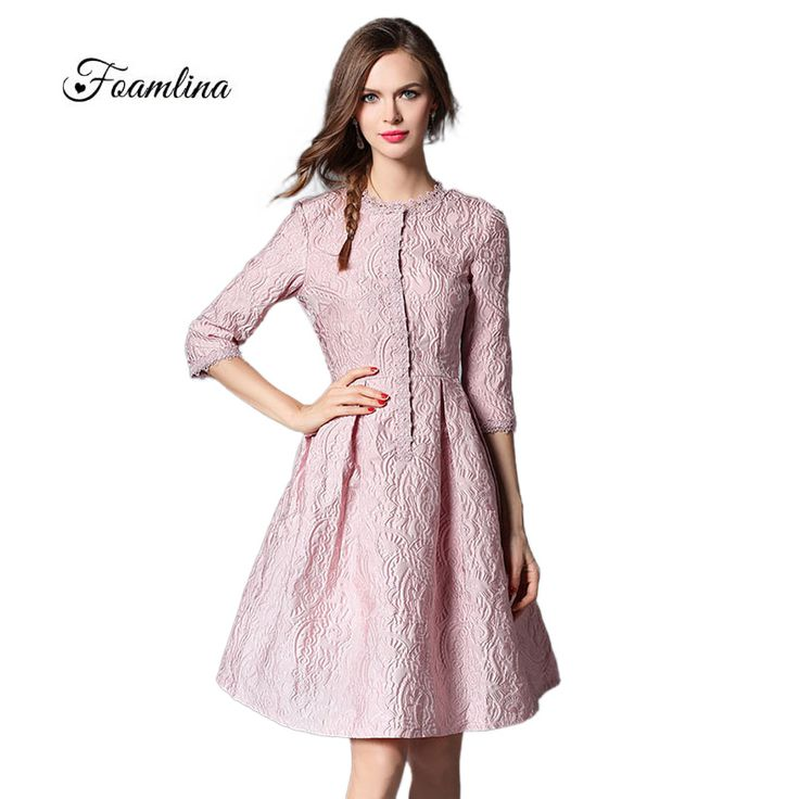 2016 New Autumn Fashion Women's Pink Dress Vestidos Robe Femme O-neck 3/4 Sleeve Lace Trim High Quality Jacquard Party Dress #Affiliate